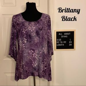 Brittany Black Purple Sparkly Sharkbite Top Large